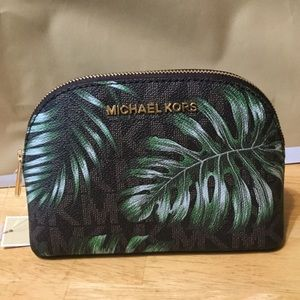 Michael Kors Lg Travel Pouch Brown/Olive MWT
